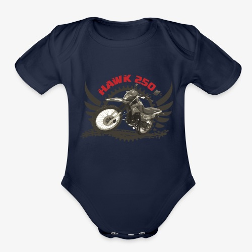 Hawk 250 Logo for Lighter Color Clothing - Organic Short Sleeve Baby Bodysuit