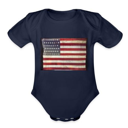 Distressed American Flag - Organic Short Sleeve Baby Bodysuit