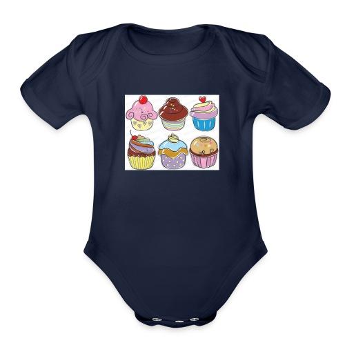cupcakes - Organic Short Sleeve Baby Bodysuit