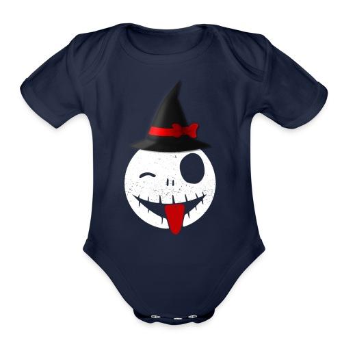 Halloween Emoticon - Organic Short Sleeve Baby Bodysuit