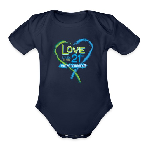 Down Syndrome Love (Blue) - Organic Short Sleeve Baby Bodysuit
