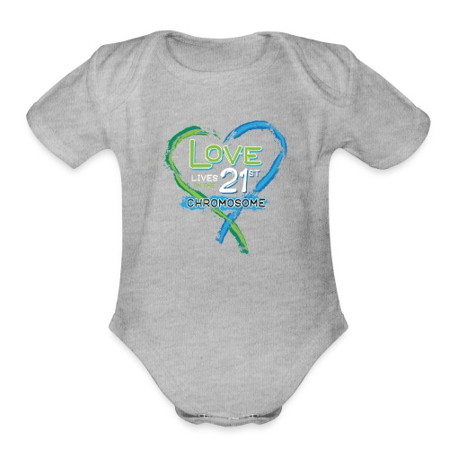 Down Syndrome Love (Blue/White) - Organic Short Sleeve Baby Bodysuit