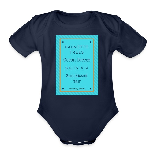 Palmetto Trees and Ocean Breeze - Organic Short Sleeve Baby Bodysuit
