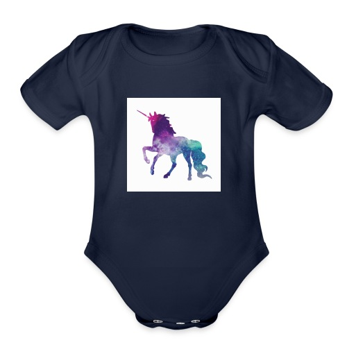 galaxy unicorn - Organic Short Sleeve Baby Bodysuit