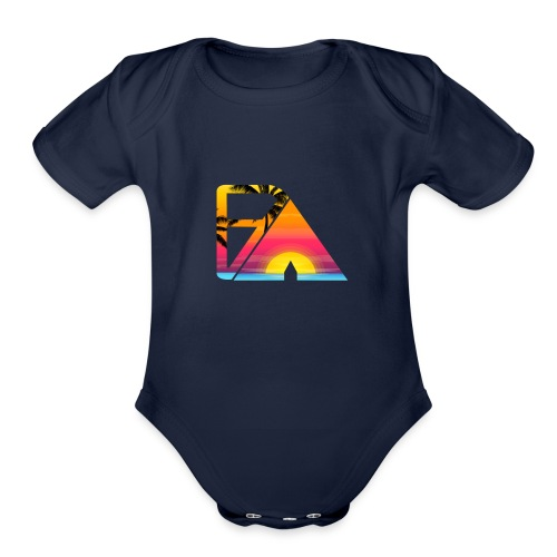 Beach theme - Organic Short Sleeve Baby Bodysuit