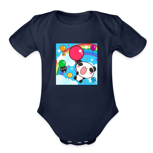 Rainbow with a panda - Organic Short Sleeve Baby Bodysuit