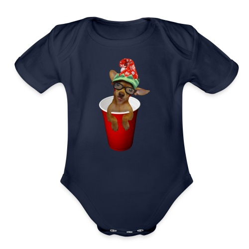 Pup in a cup Elf on the shelf who? lol - Organic Short Sleeve Baby Bodysuit