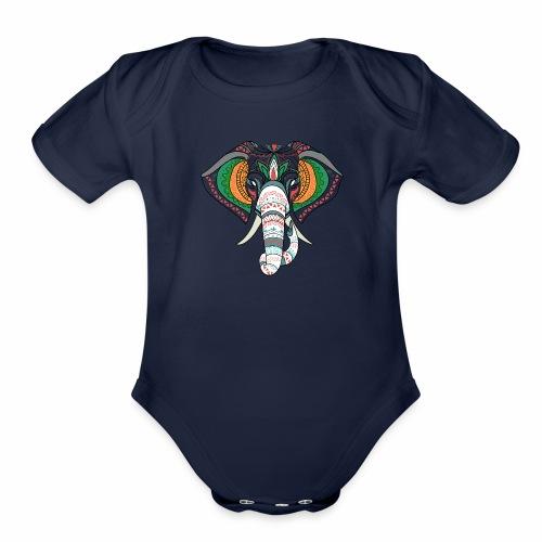 H&F Market high beautiful coloured elephant design - Organic Short Sleeve Baby Bodysuit