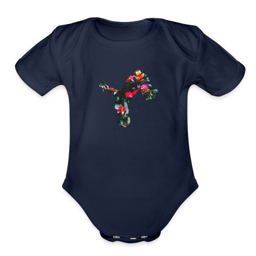 Tropical uproar flip logo - Organic Short Sleeve Baby Bodysuit