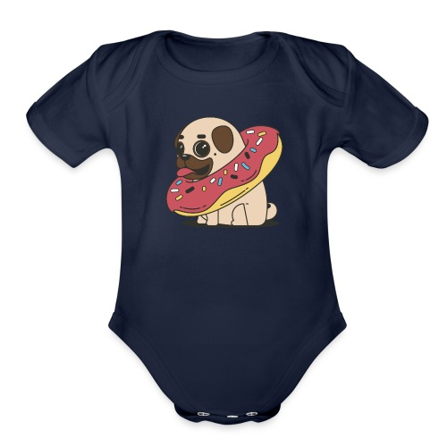 little pug - Organic Short Sleeve Baby Bodysuit