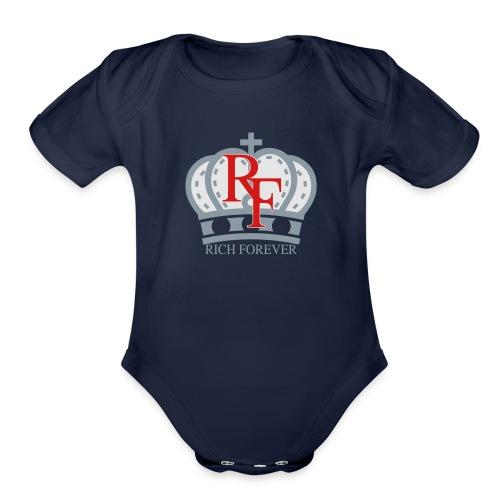 Rich forever Crown 3 5 - Organic Short Sleeve Baby Bodysuit