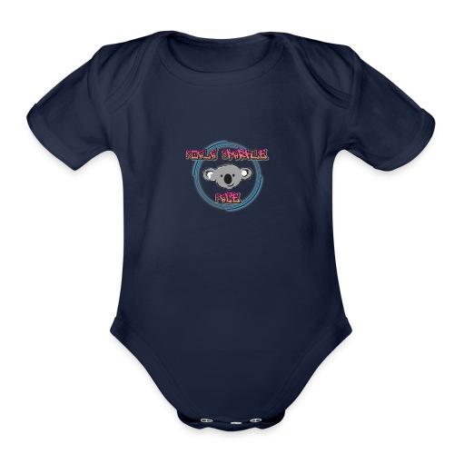 Koala Sparkle Face logo - Organic Short Sleeve Baby Bodysuit