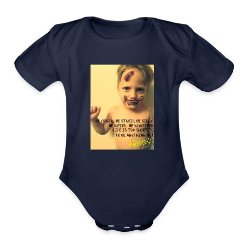 Be Happy! - Organic Short Sleeve Baby Bodysuit