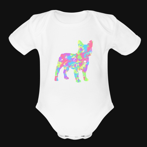 Frenchie love splatter - Organic Short Sleeve Baby Bodysuit