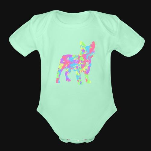 Frenchie love splatter - Organic Short Sleeve Baby Bodysuit