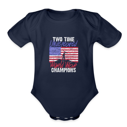 RETIRED ARMY: Undefeated War Champs - Organic Short Sleeve Baby Bodysuit