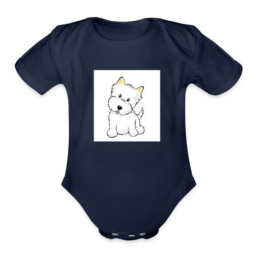 cute pup - Organic Short Sleeve Baby Bodysuit
