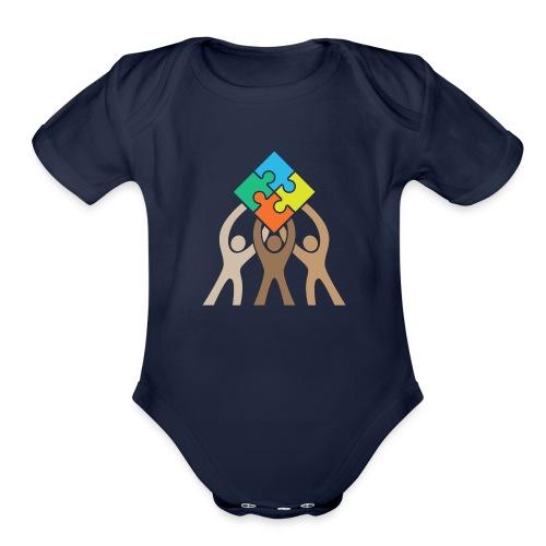 Teamwork and Unity Jigsaw Puzzle Logo - Organic Short Sleeve Baby Bodysuit