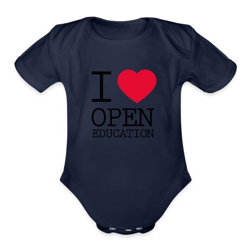 I Love Open Education - Organic Short Sleeve Baby Bodysuit