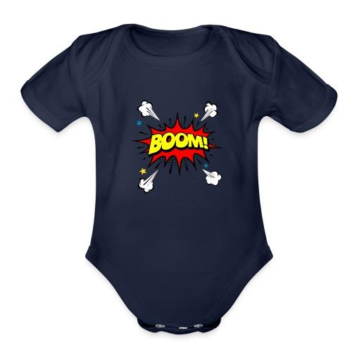 Super Boom - Organic Short Sleeve Baby Bodysuit