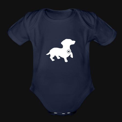 Dachshund silhouette white - Organic Short Sleeve Baby Bodysuit