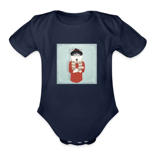 Hispter Dog - Organic Short Sleeve Baby Bodysuit