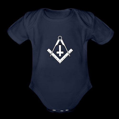 FreemasonCrossBlack - Organic Short Sleeve Baby Bodysuit