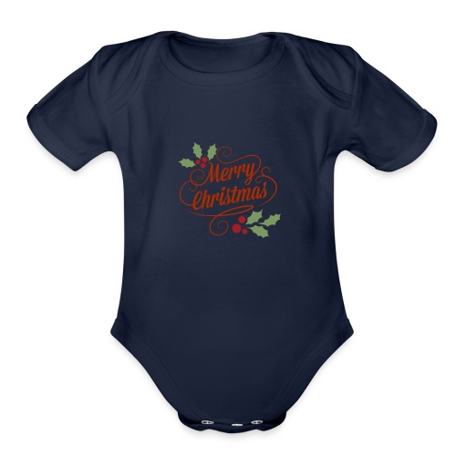 Merry Christmas - Organic Short Sleeve Baby Bodysuit