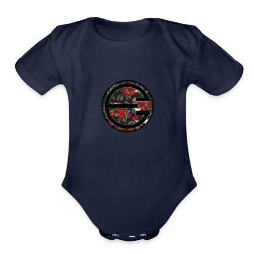 EYELESS 2D FLORAL CIRCLE PHONE CASE. - Organic Short Sleeve Baby Bodysuit