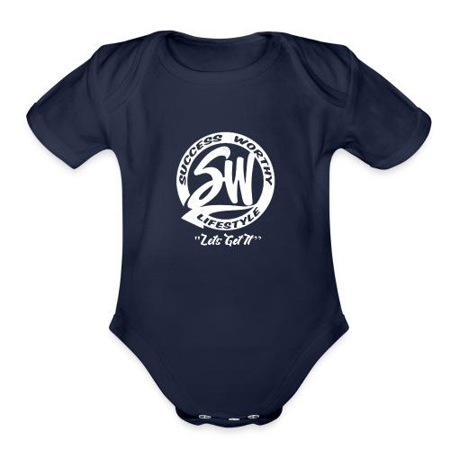 SW_white - Organic Short Sleeve Baby Bodysuit