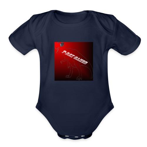 T-REX GAMER LOGO - Organic Short Sleeve Baby Bodysuit