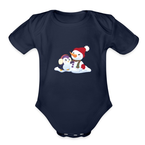 Penguin & Snowman Winter Friends - Organic Short Sleeve Baby Bodysuit