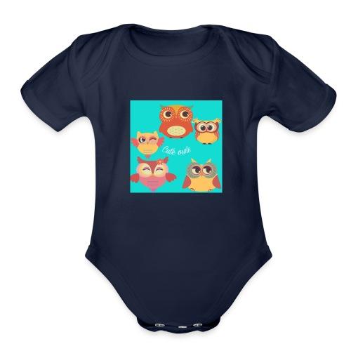 Cute owls - Organic Short Sleeve Baby Bodysuit