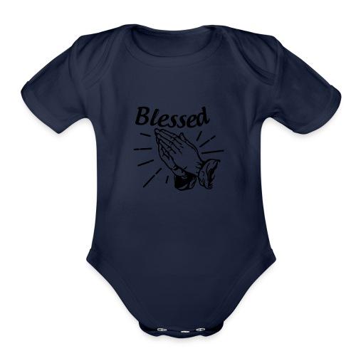 Blessed - Alt. Design (Black Letters) - Organic Short Sleeve Baby Bodysuit