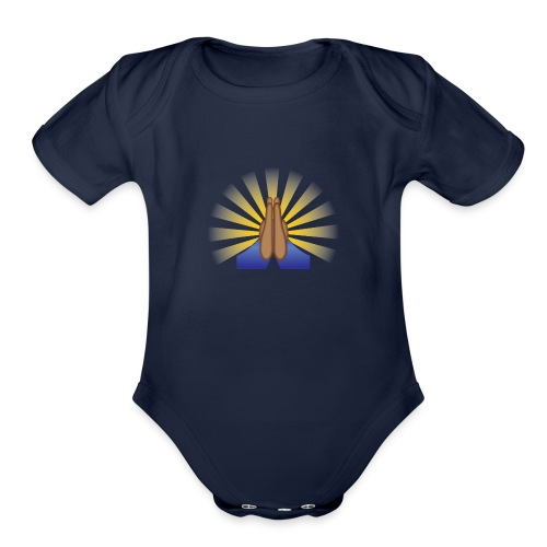 Prayer Hands (Brown) - Organic Short Sleeve Baby Bodysuit