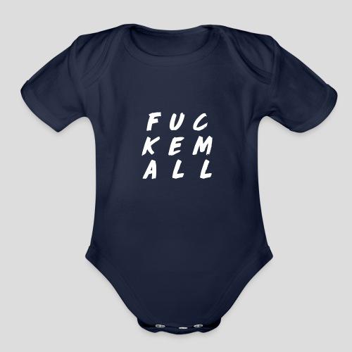 FUCKEMALL White Logo - Organic Short Sleeve Baby Bodysuit