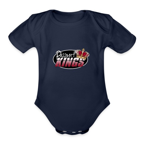 Passport Kings logo for dark shirts - Organic Short Sleeve Baby Bodysuit
