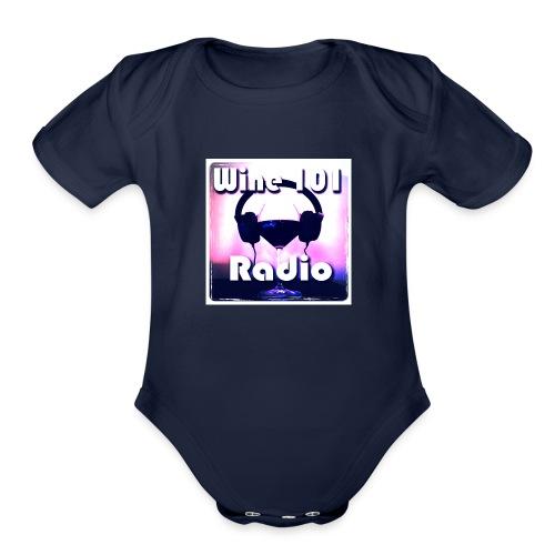 Wine 101 Radio Logo - Organic Short Sleeve Baby Bodysuit