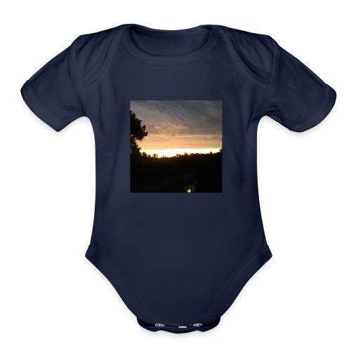 Country side sunset - Organic Short Sleeve Baby Bodysuit