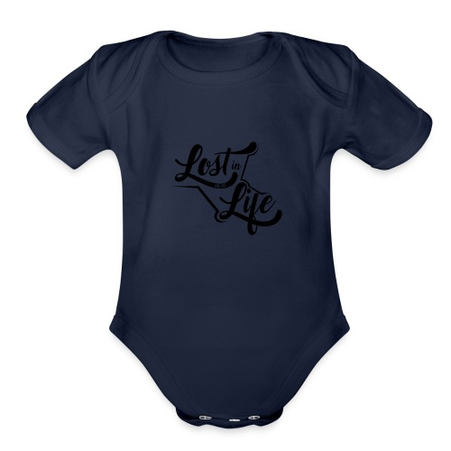 Lost in Life Black on Light logo small - Organic Short Sleeve Baby Bodysuit