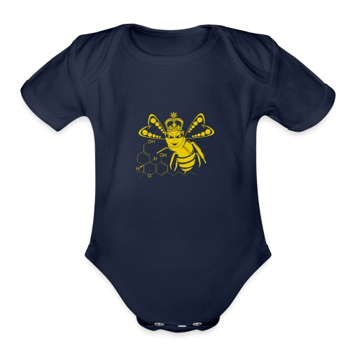 11HydroxyCompoud FemaleBee Shirt Gold Final 01 - Organic Short Sleeve Baby Bodysuit