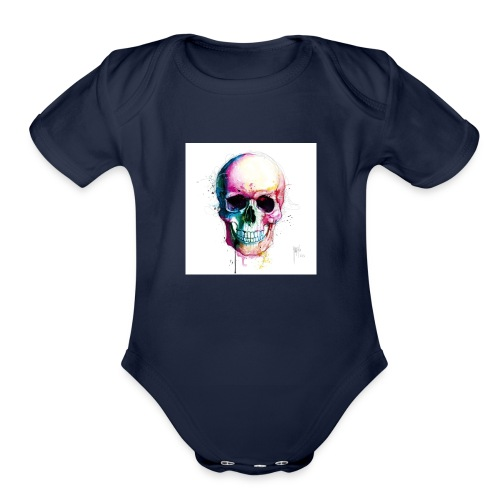 Colourful skull - Organic Short Sleeve Baby Bodysuit