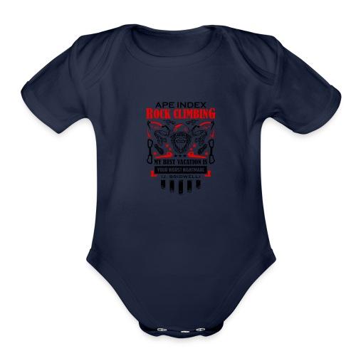 ApeIndex RockClimbing Black Red - Organic Short Sleeve Baby Bodysuit