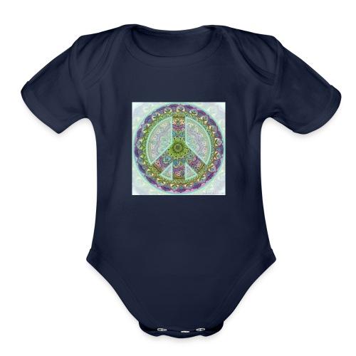 peace sign - Organic Short Sleeve Baby Bodysuit