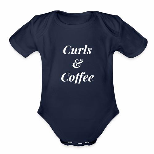curls and coffee - Organic Short Sleeve Baby Bodysuit