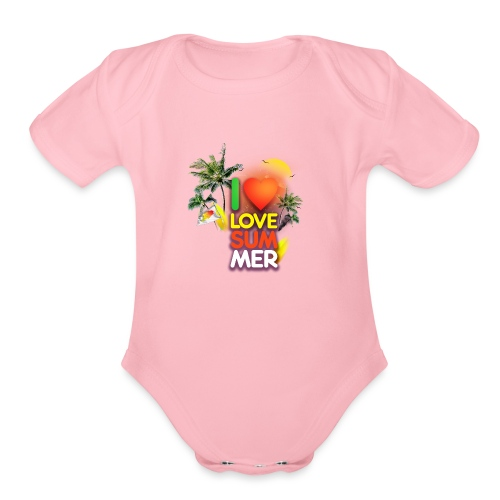 I love summer - Organic Short Sleeve Baby Bodysuit