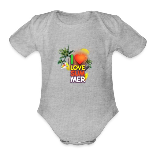 I love summer - Organic Short Sleeve Baby Bodysuit