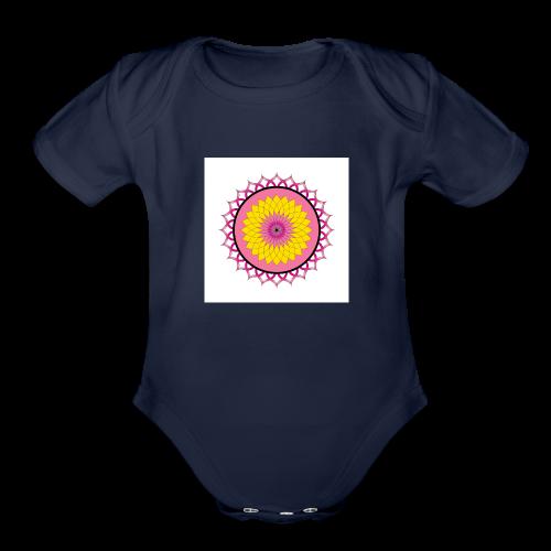 Lotus Flower Mandala - Organic Short Sleeve Baby Bodysuit