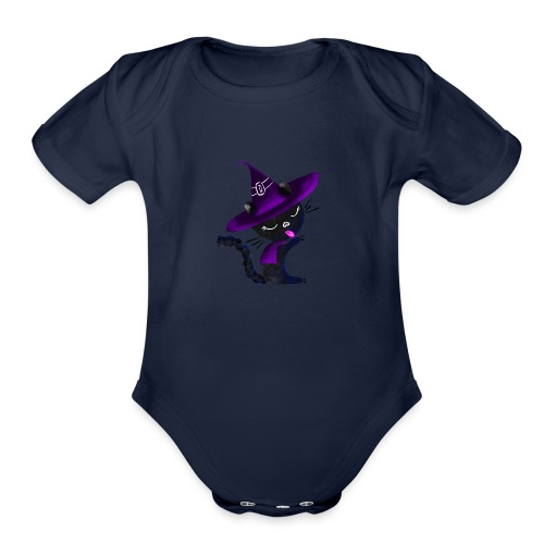 Cute Magical Cat - Organic Short Sleeve Baby Bodysuit