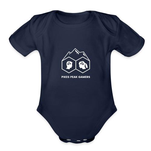 Pikes Peak Gamers Logo (Transparent White) - Organic Short Sleeve Baby Bodysuit